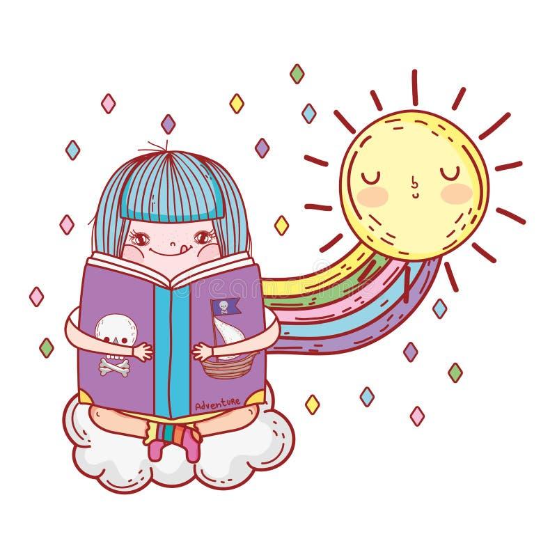 Libro de lectura de la muchacha con kawaii del arco iris y del sol ilustración del vector