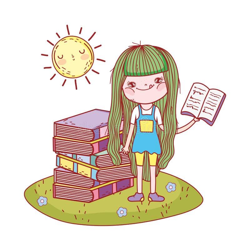 Libro de lectura de la muchacha con kawaii del sol en el campo ilustración del vector