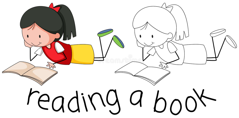 Libro de lectura de la muchacha del garabato ilustración del vector