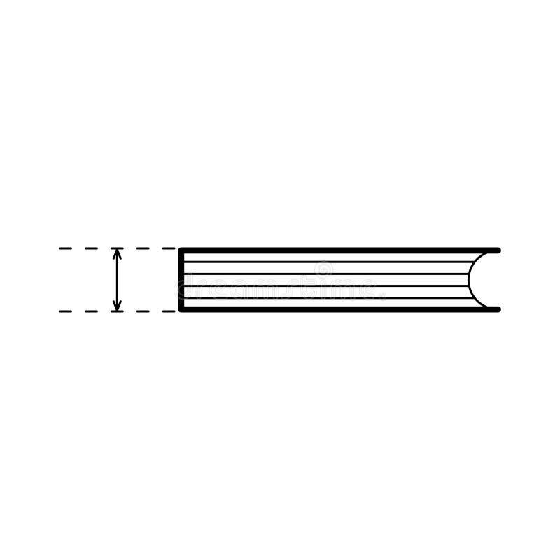 Libro de mentiras con flecha que mide el espesor Plantilla de diseño de línea delgada para métricas, dimensión Ilustración simple ilustración del vector