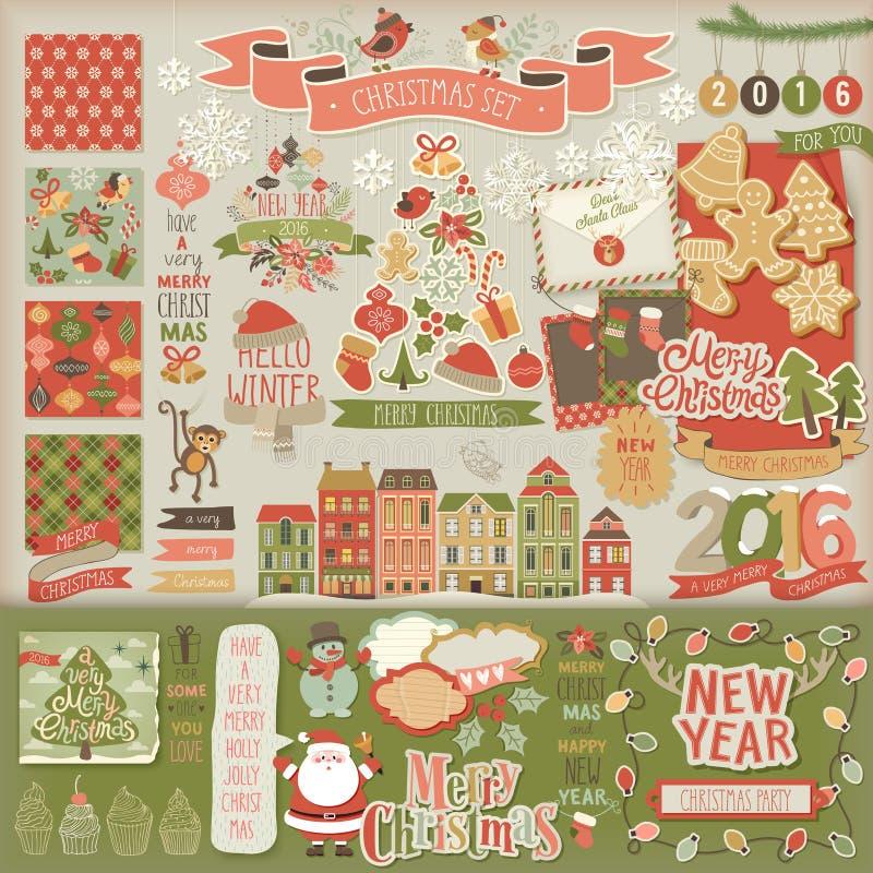 Libro de recuerdos de la Navidad fijado - elementos decorativos stock de ilustración