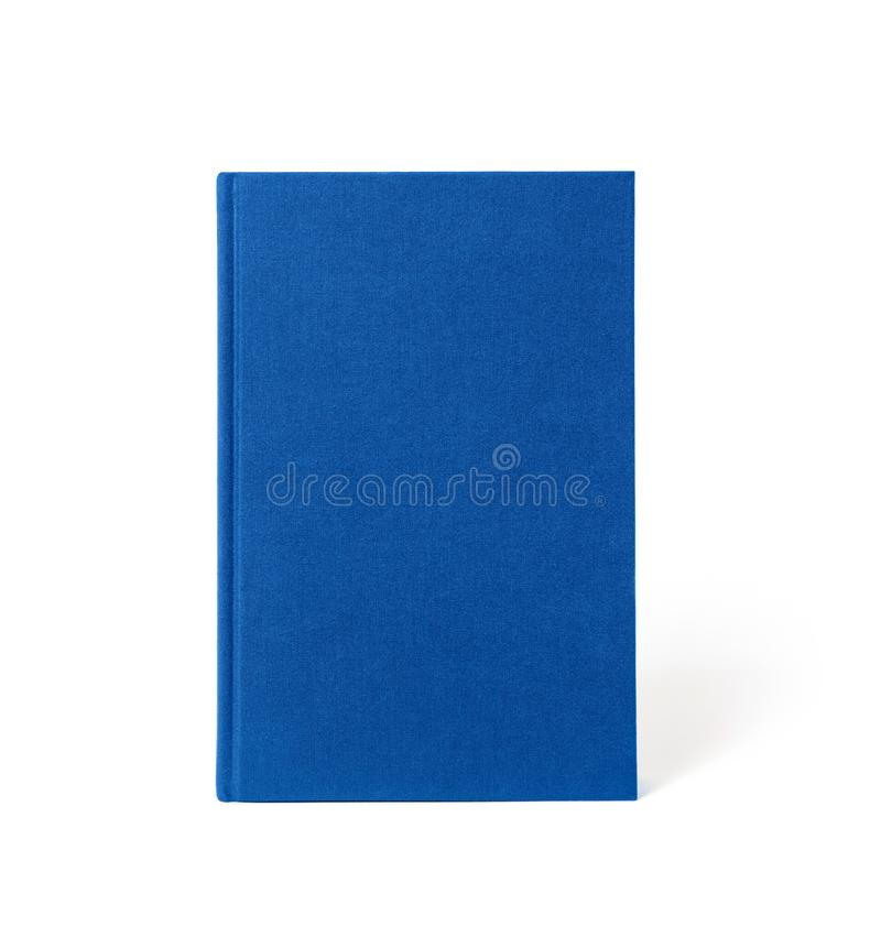 Libro de tapa dura derecho azul aislado, vista delantera fotografía de archivo libre de regalías