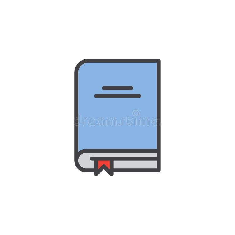 Libro de texto con el icono llenado señal del esquema libre illustration