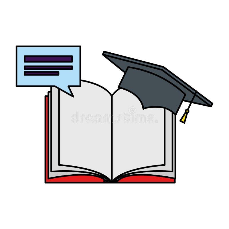 Libro de texto con la burbuja del discurso y la graduación del sombrero ilustración del vector