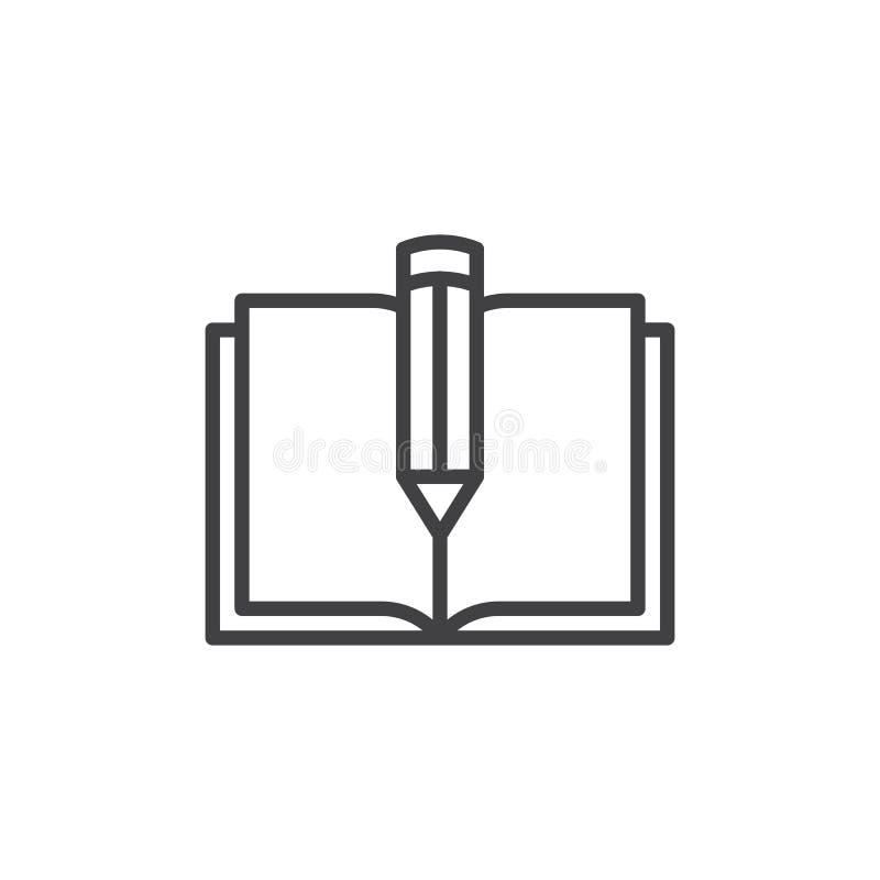 Libro de texto y línea icono de la pluma libre illustration