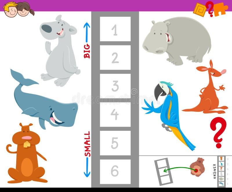 Libro de trabajo educativo con los animales grandes y pequeños libre illustration