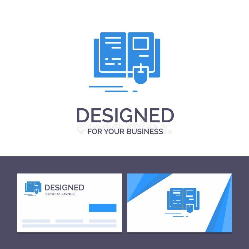 Libro de visita de la plantilla creativa de la tarjeta y del logotipo, educación, conocimiento, ejemplo del vector del ratón stock de ilustración