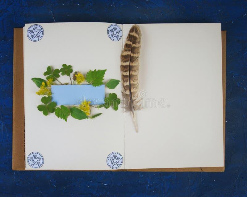 Libro de Wiccan de las sombras listas para recordar el ritual foto de archivo