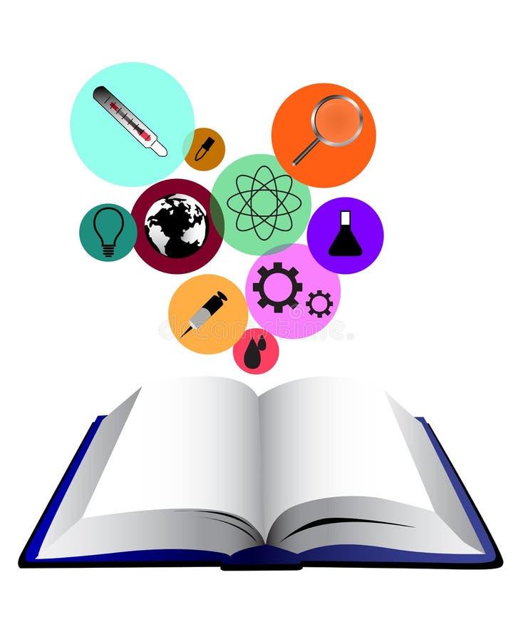 Libro del concepto de la ciencia stock de ilustración