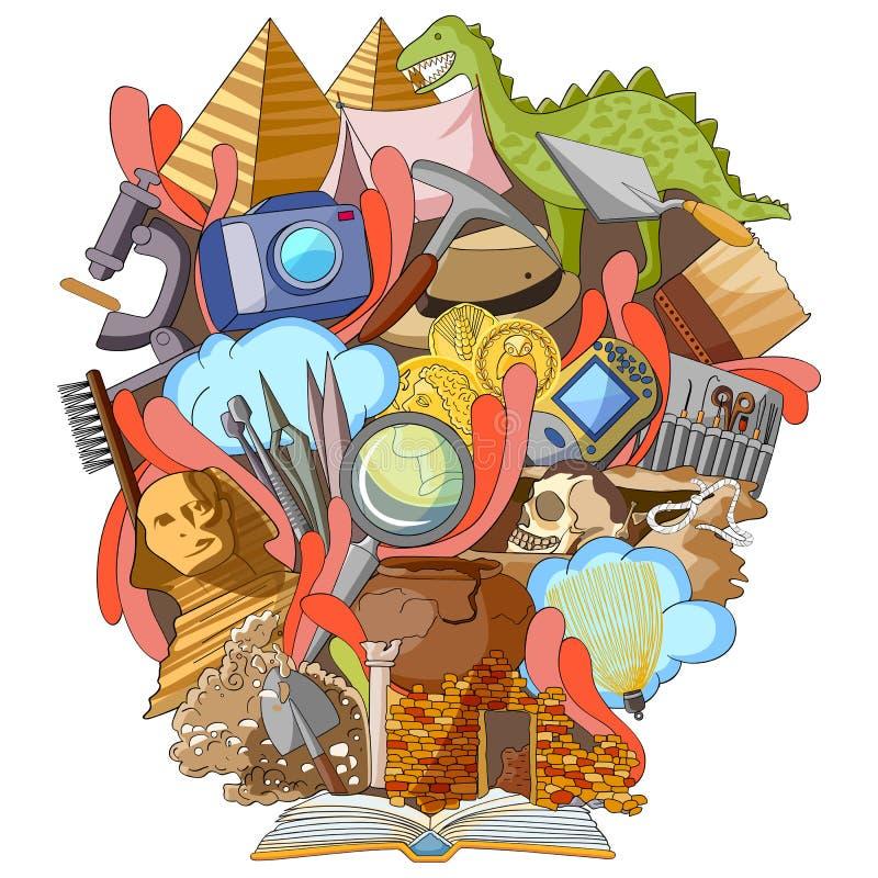 Libro del conocimiento para la arqueología ilustración del vector