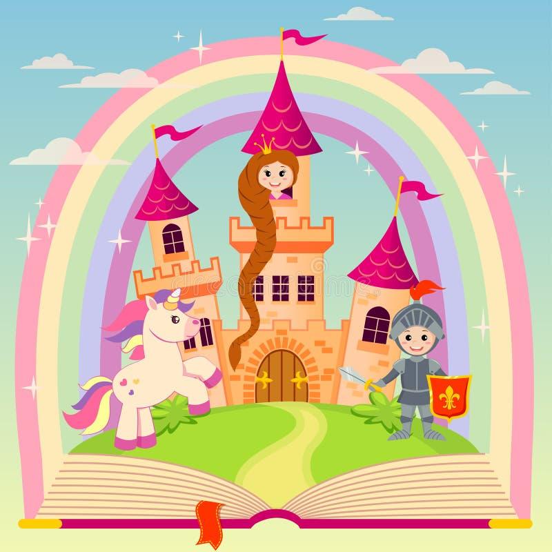 Libro del cuento de hadas con el castillo, la princesa, el caballero, el unicornio y el arco iris libre illustration