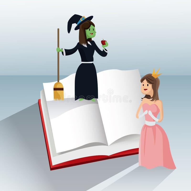 Libro del cuento de la bruja de la princesa ilustración del vector