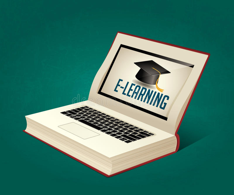 Libro del elearning - apprendimento di libro elettronico royalty illustrazione gratis