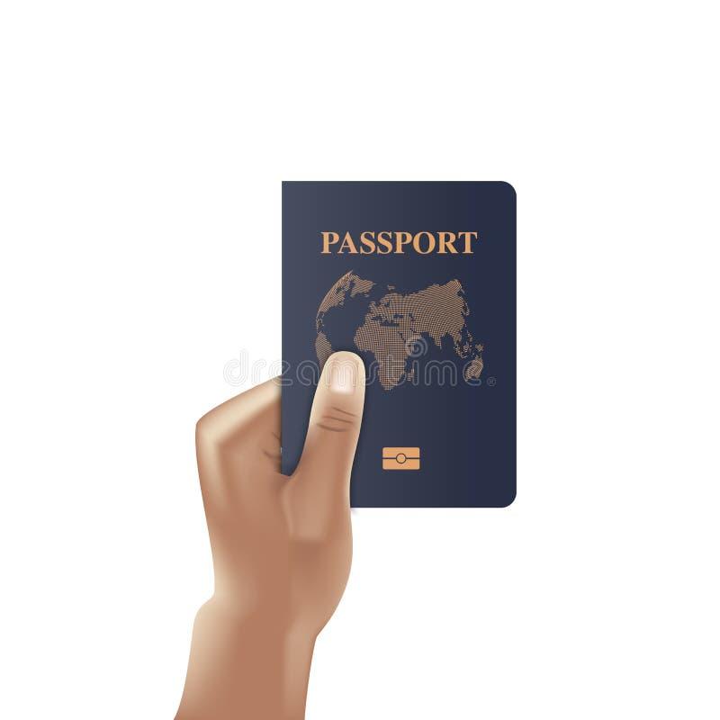 Libro del pasaporte con la tenencia de la mano, ciudadano de la identificación, vector, ilustración del vector