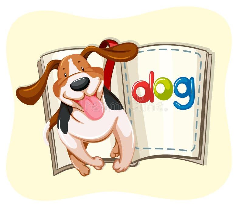 Libro del pequeño perro stock de ilustración