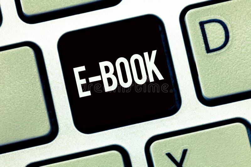 Libro del texto E de la escritura de la palabra Concepto del negocio para la versión electrónica del libro impreso que puede leer imagen de archivo