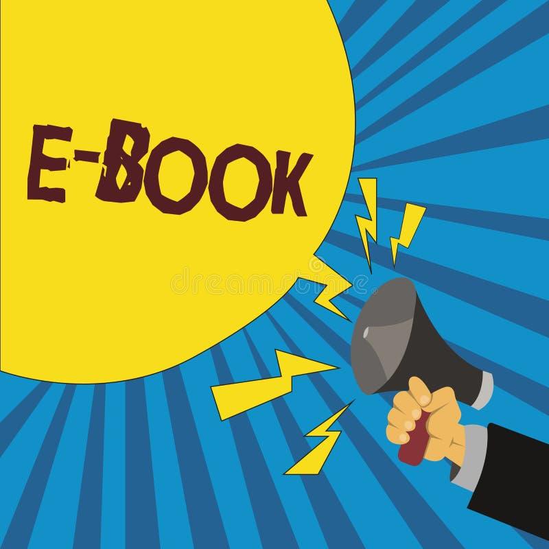 Libro del texto E de la escritura de la palabra Concepto del negocio para la versión electrónica del libro impreso que puede leer libre illustration