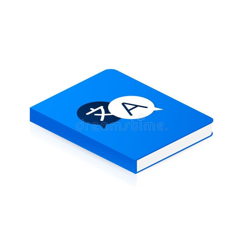 Libro del traduttore di concetto per la pagina Web, insegna, media sociali Illustrazione di vettore illustrazione di stock