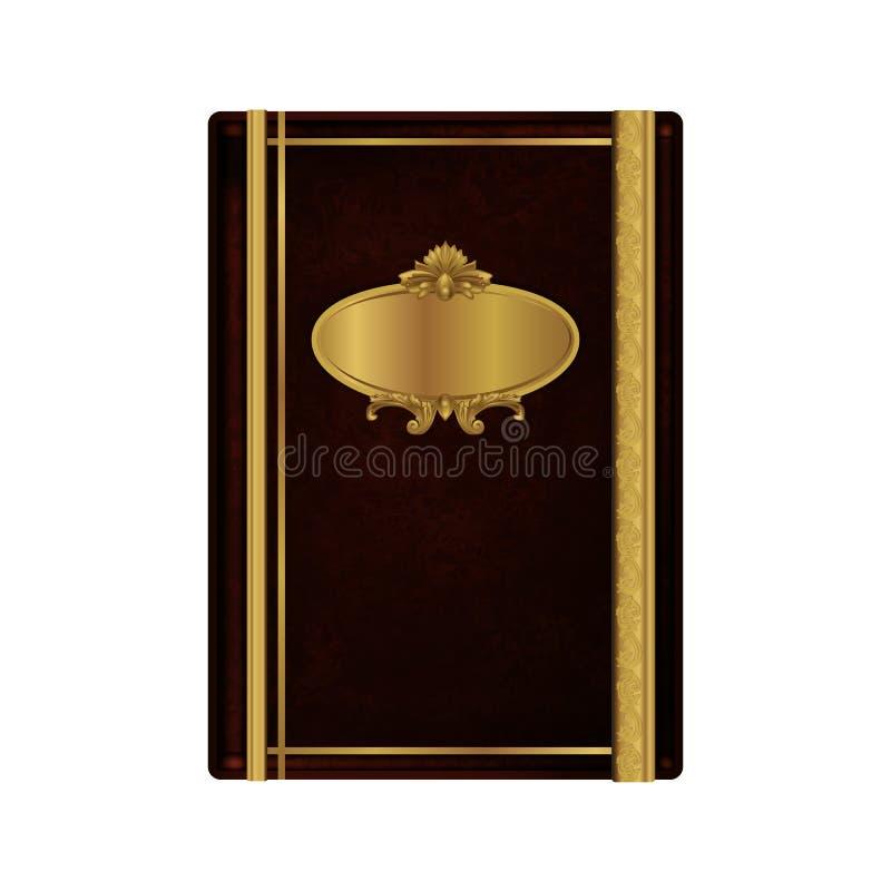 Libro del vintage con los ornamentos de oro ilustración del vector
