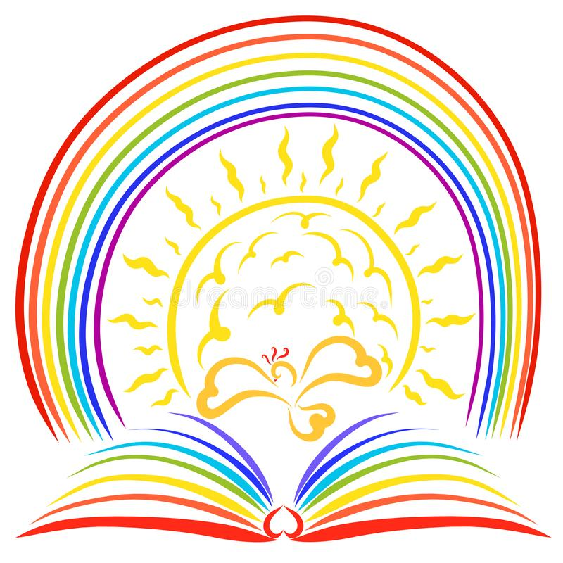 Libro dell'arcobaleno, uccello di volo, sole brillante ed arcobaleno royalty illustrazione gratis