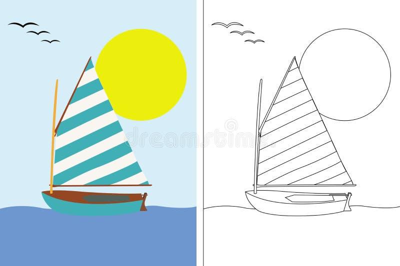 Libro della pagina di coloritura con la barca di navigazione illustrazione di stock