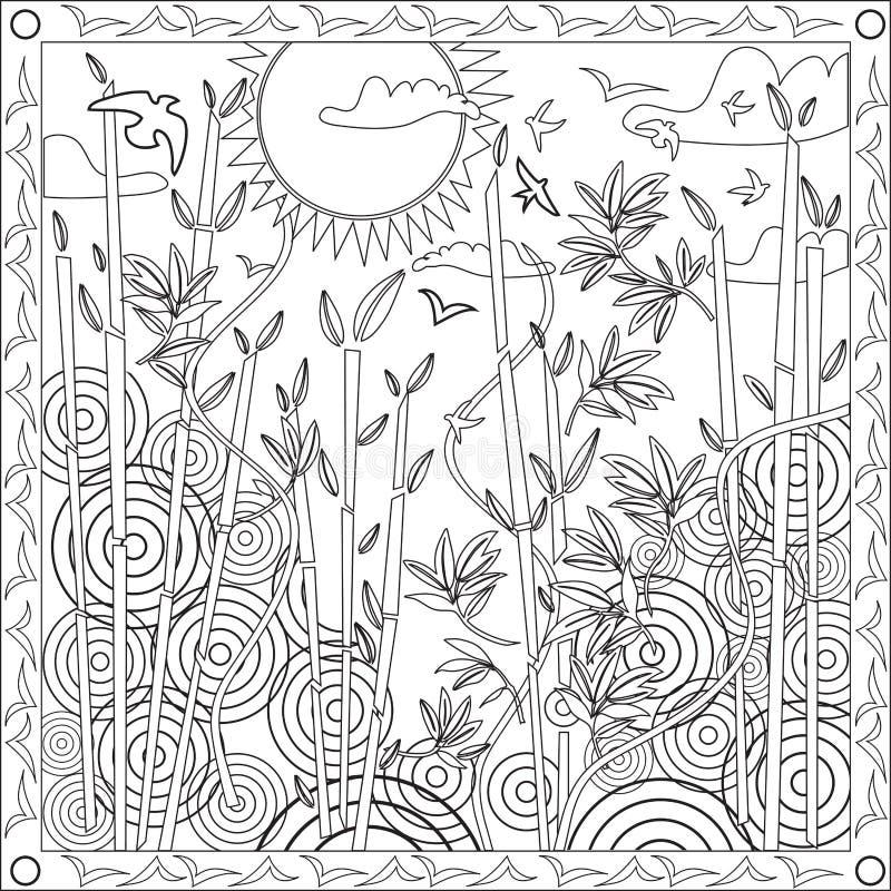 Libro della pagina di coloritura per l'illustrazione di bambù di vettore di tramonto di progettazione del giapponese di formato q illustrazione vettoriale