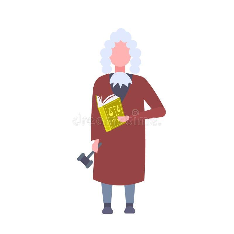 Libro della tenuta del lavoratore della corte dell'uomo del giudice e personaggio dei cartoni animati maschio della giustizia del illustrazione vettoriale