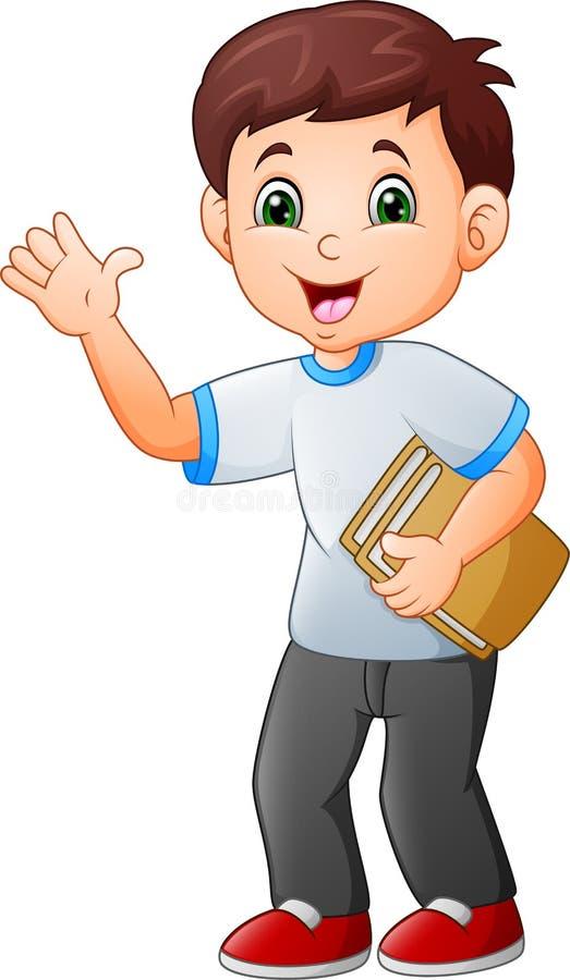 Libro della tenuta del ragazzino del fumetto illustrazione di stock