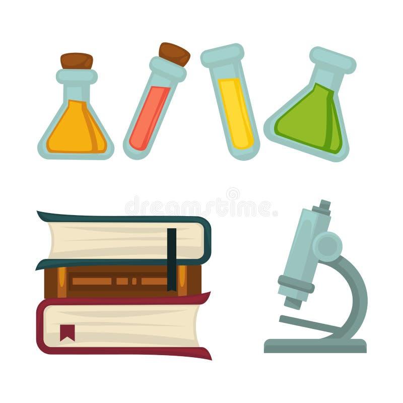 Libro di chimica di scienza o becher ed icone piane di vettore del microscopio di biologia messe illustrazione di stock