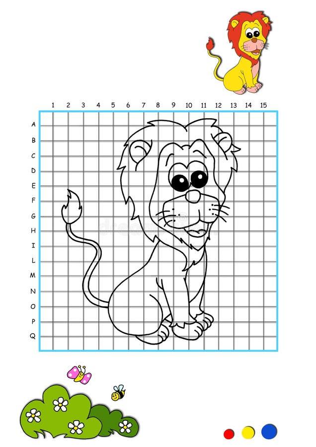 Libro di coloritura 5 - leone illustrazione vettoriale
