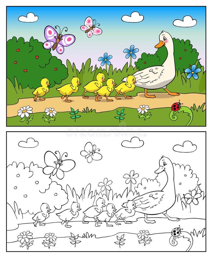 Libro di coloritura Anatra ed anatroccoli della madre illustrazione di stock