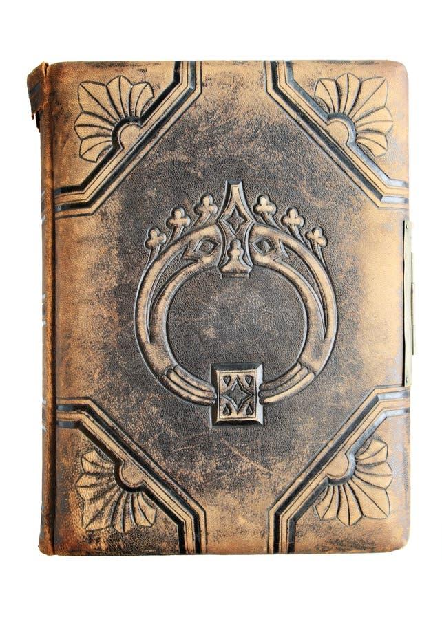Libro di cuoio antico isolato fotografia stock libera da diritti