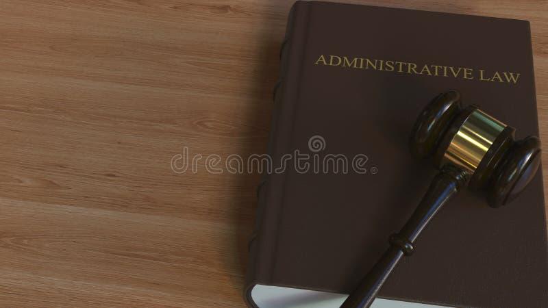 Libro di DIRITTO AMMINISTRATIVO e martelletto della corte rappresentazione 3d illustrazione vettoriale