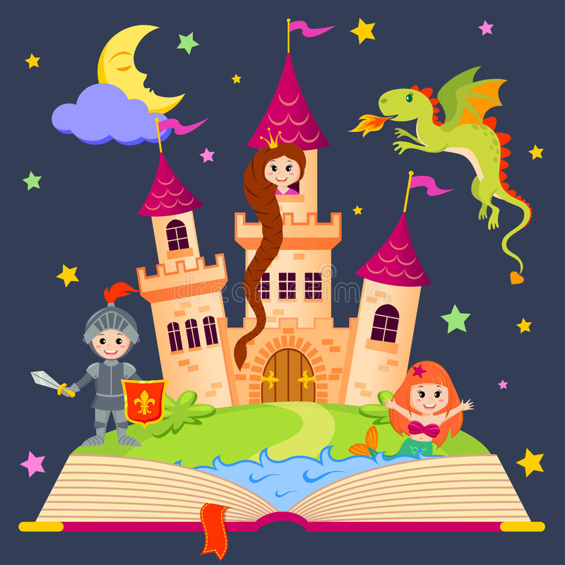 Libro di favola con il castello, principessa, cavaliere, sirena, drago royalty illustrazione gratis