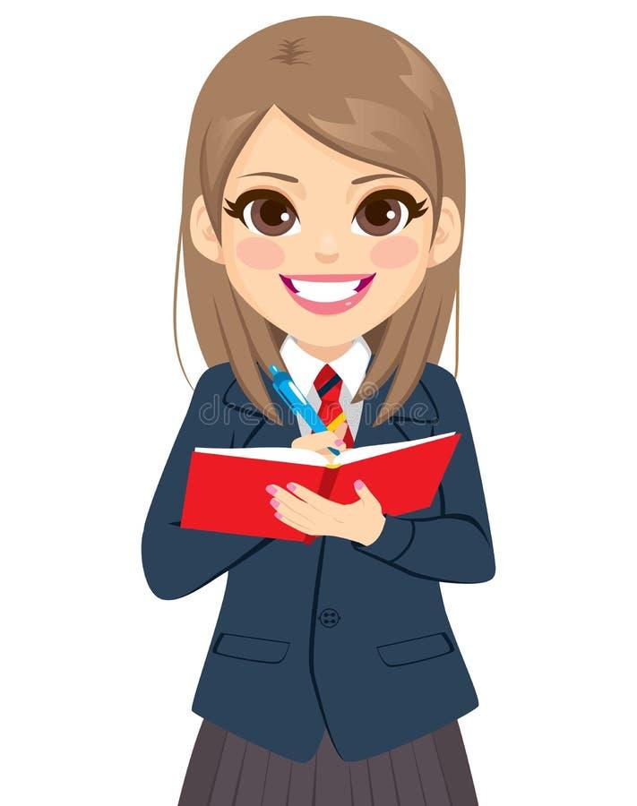 Libro di Girl Writing On dello studente illustrazione di stock