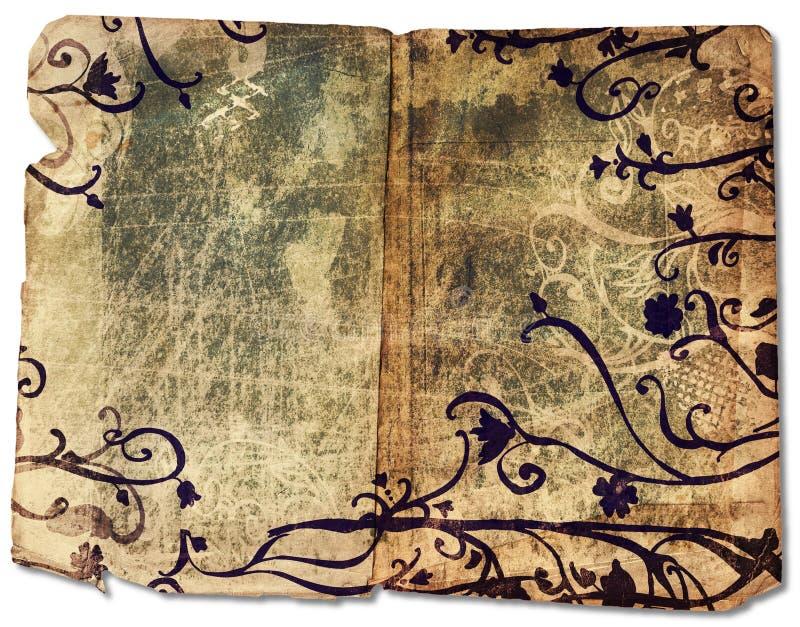 Libro di Grunge con il bordo floreale illustrazione di stock