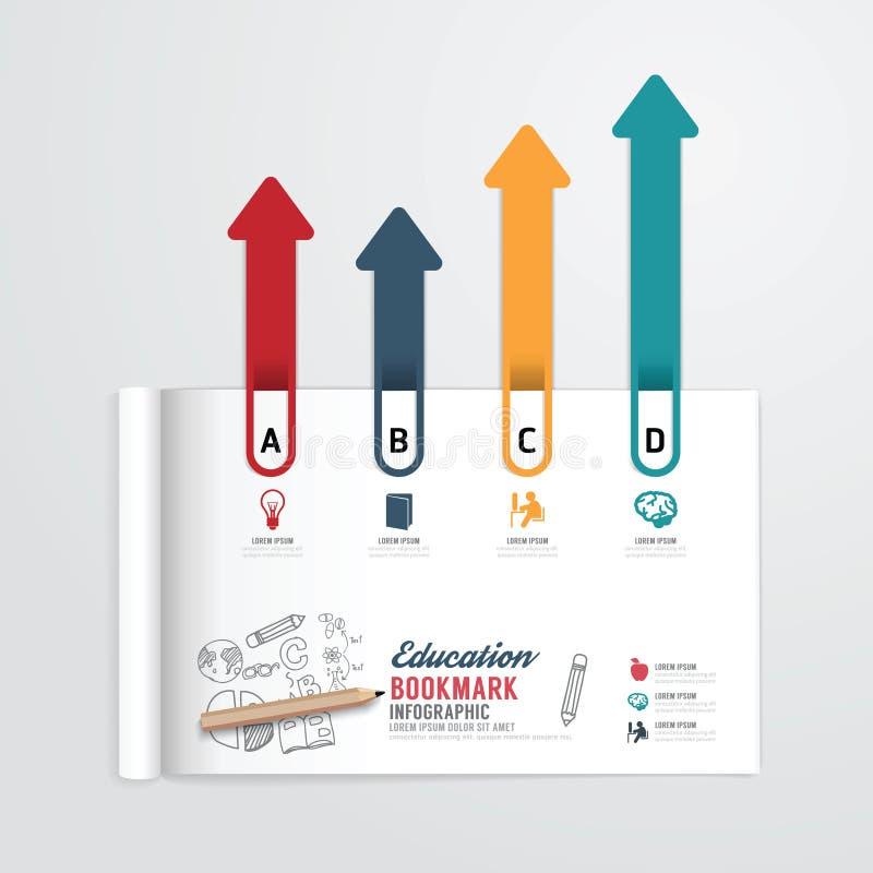 Libro di Infographic aperto con istruzione di concetto della freccia del segnalibro illustrazione di stock