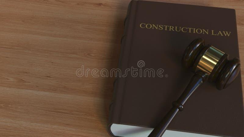 Libro di LEGGE della COSTRUZIONE e martelletto della corte rappresentazione 3d illustrazione vettoriale