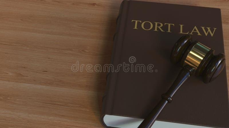 Libro di LEGGE di ILLECITO e martelletto della corte rappresentazione 3d royalty illustrazione gratis