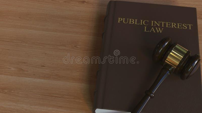 Libro di LEGGE di INTERESSE PUBBLICO e martelletto della corte rappresentazione 3d illustrazione di stock