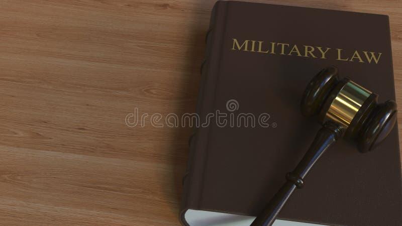 Libro di LEGGE MILITARE e martelletto della corte rappresentazione 3d illustrazione di stock
