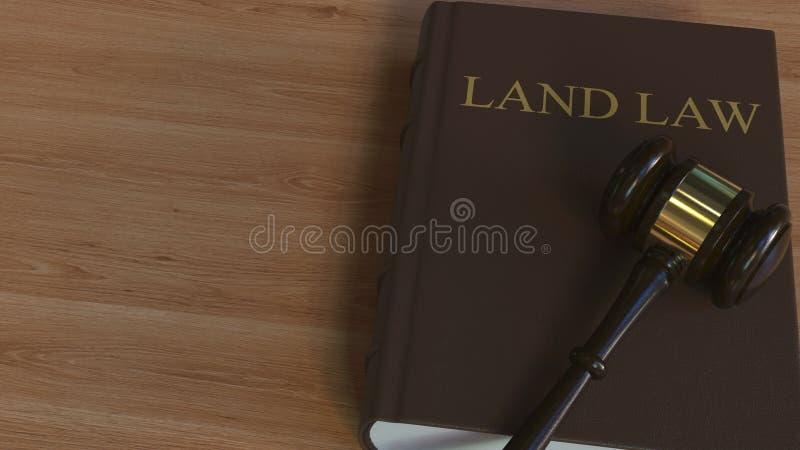Libro di LEGGE TERRIERA e martelletto della corte rappresentazione 3d royalty illustrazione gratis