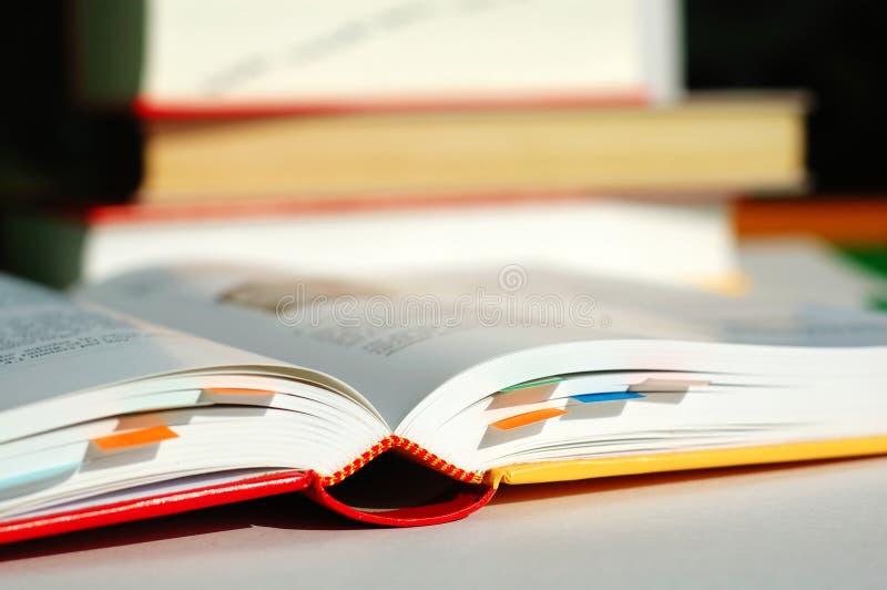 Libro di lettura con i segnalibri immagine stock libera da diritti