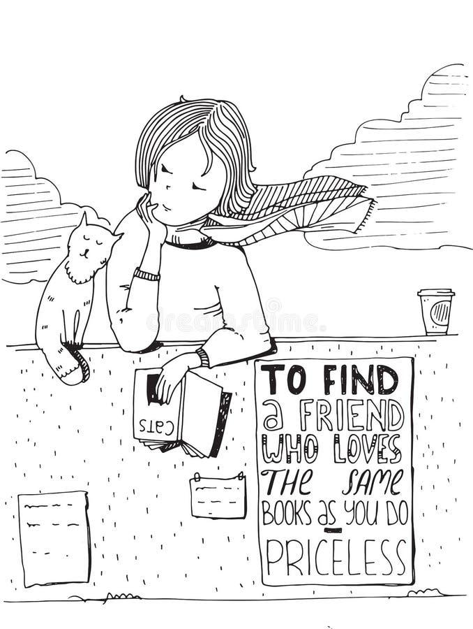 Libro di lettura del gatto e della ragazza Vector l'illustrazione disegnata a mano, fatta con inchiostro nero e Libro Bianco illustrazione di stock