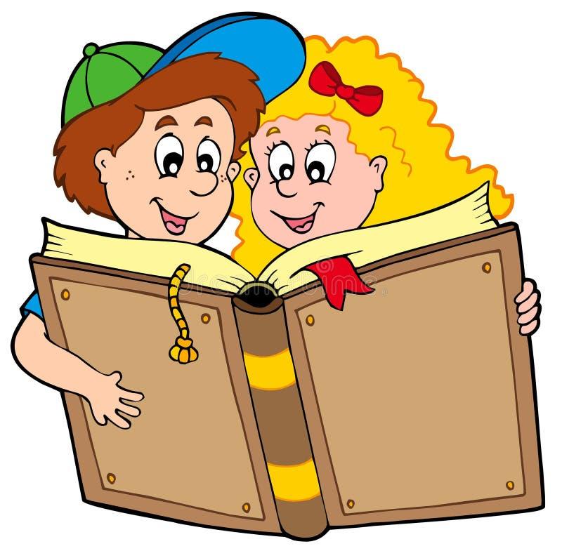Libro di lettura del ragazzo e della ragazza di banco royalty illustrazione gratis