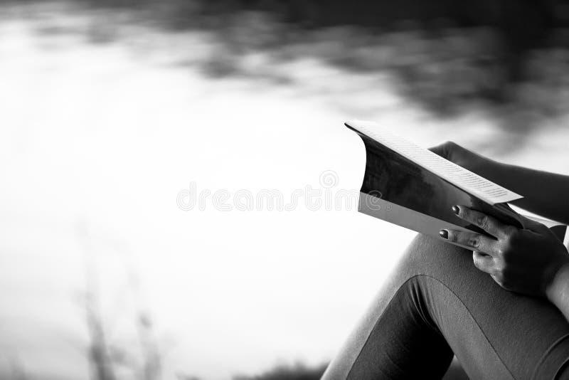 Libro di lettura della donna sull'orlo di un lago immagini stock libere da diritti