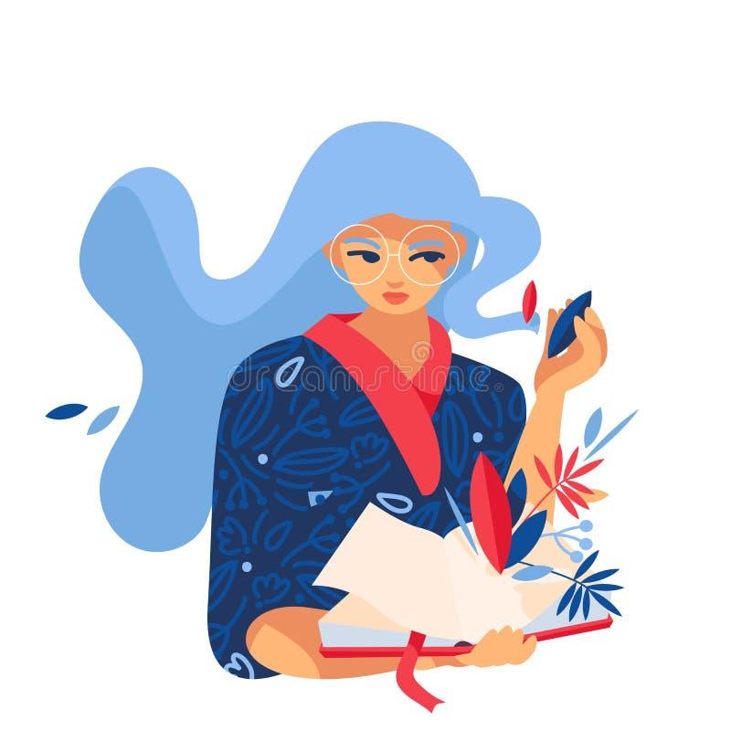 Libro di lettura della giovane donna, decorato con le foglie ed i punti Isolato sull'illustrazione bianca di fantasia, buona per  illustrazione vettoriale