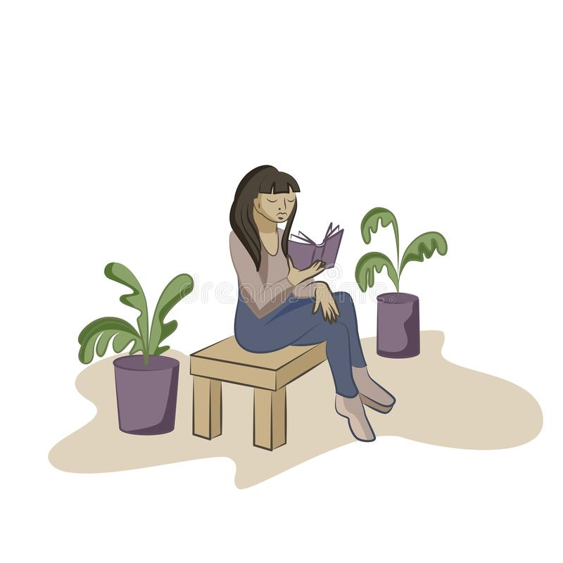 Libro di lettura della giovane donna sulla sedia in un ufficio illustrazione vettoriale