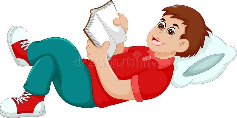 Libro di lettura divertente del fumetto del ragazzo con il rilassamento
