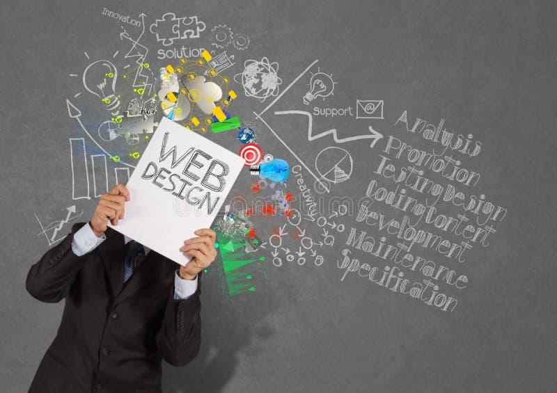 Libro di manifestazione della mano dell'uomo d'affari di web design immagini stock